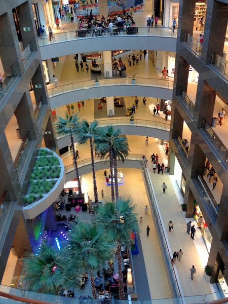 Six level shopping mall at the base of the Gran Torre in Santiago (tallest building in South America)