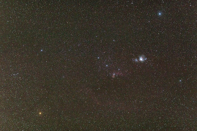 Orion Constellation Featruring Great Nebula, Flame Nebula, Horse Head Nebula and Bernard's Loop