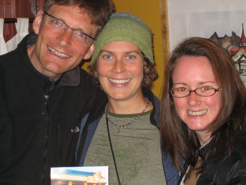 Me and Jason & Kirsten after a well deserved meal following our return from Torres del Paine