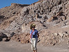 In the Valley of the Moon, hiking into one of the dried river beds.