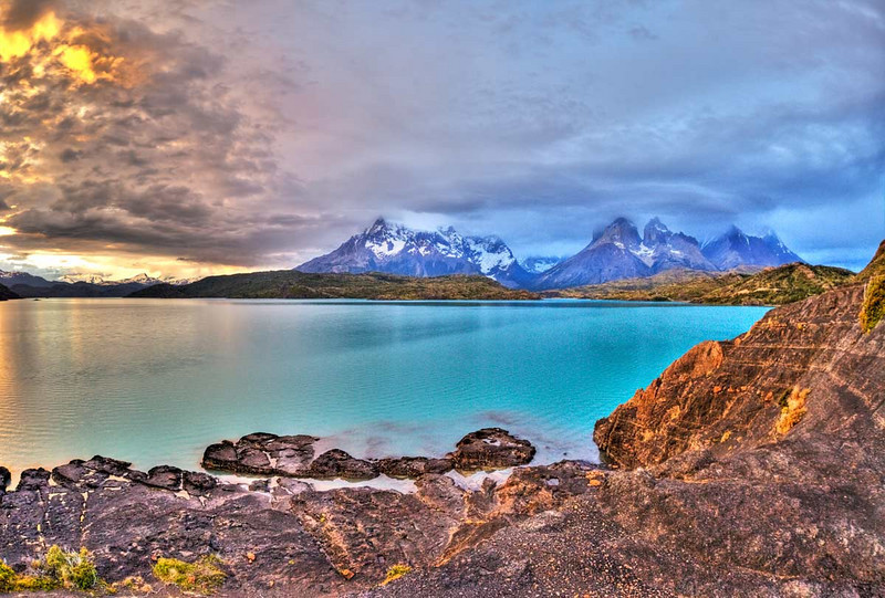 Torres del Paine Pahoe Lake with towers in background.