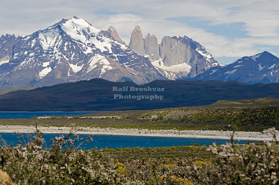 The Three Towers of Paine seen from lake Sarmiento, Torres del Paine National Park a UNESCO Biosphere Reserve in Patagonia, Chile
