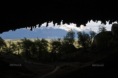 Inside the Milodon Cave (Cueva del Milodón) Natural Monument in the Cerro Benitez Mountains near Puerto Natales, Patagonia, Chile. A piece of skin that belonged to a mylodon, an extinct giant sloth, was found in this cave.