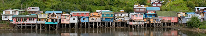 Town on sticks I Chiloe Island.