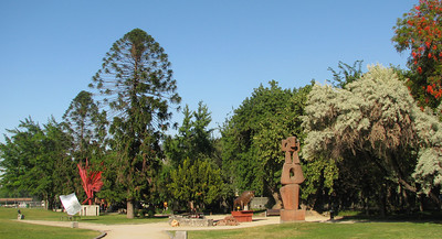 Sculpture garden along the walkway