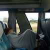 Sarah sleeping on the 10 hour overnight ride to Pucon.