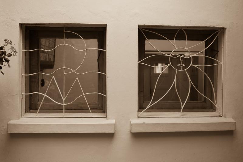 pablo neruda's residence in santiago -monogrammed window