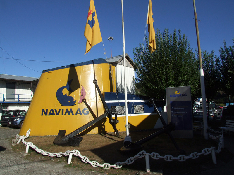 The official entrance to the Navmiag port in Puerto Montt.