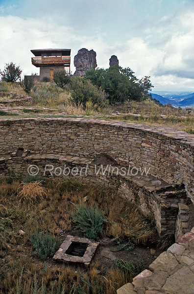 East Kiva, Ancestral Pueblo Ruins, Fire Lookout Tower (removed in 2010),  Chimney Rock Archaeological Area and National Historic Site, San Juan National Forest, Archuleta County, Colorado