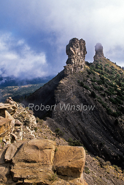 Rock Pillars, Early Morning Low Clouds, Chimney Rock Archaeological Area and National Historic Site, San Juan National Forest, Archuleta County, Colorado