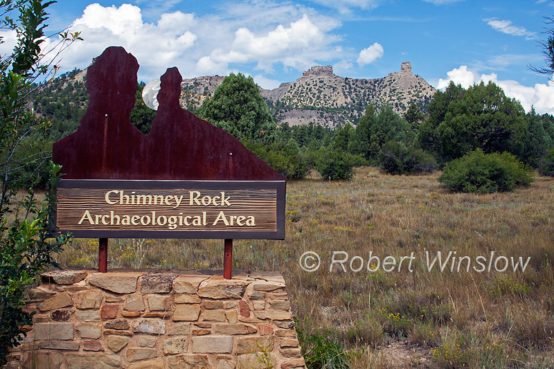 Entry Sign, Rock Pillars; Chimney Rock Archaeological Area and National Historic Site; San Juan National Forest; Archuleta County; Colorado