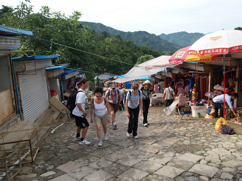 Steep climb through the souvenir stalls (the 'hello people')
