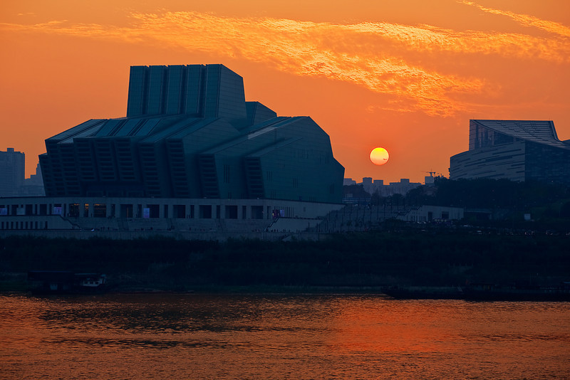 China, Chongqing, Yangtze River, Opera House, Sunset Travel, Landscape 重庆 夜景 旅行