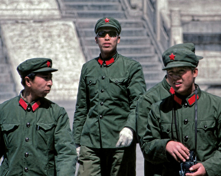 At the Temple of Heaven, Beijing. In 1981, sunglasses and white gloves were the height of cool.