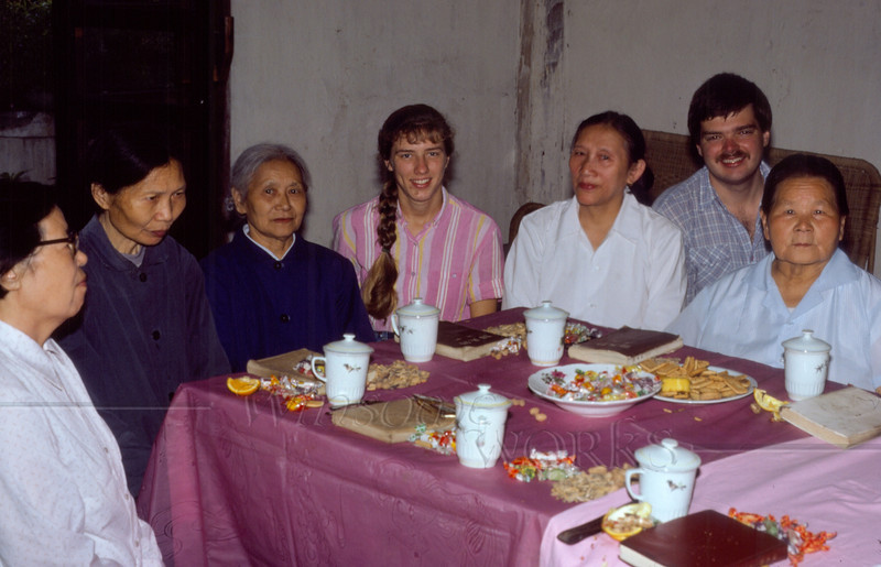 (photo by a friend) Rob and me with the woman of the Nanchong Christian Church.This was our going-away party.