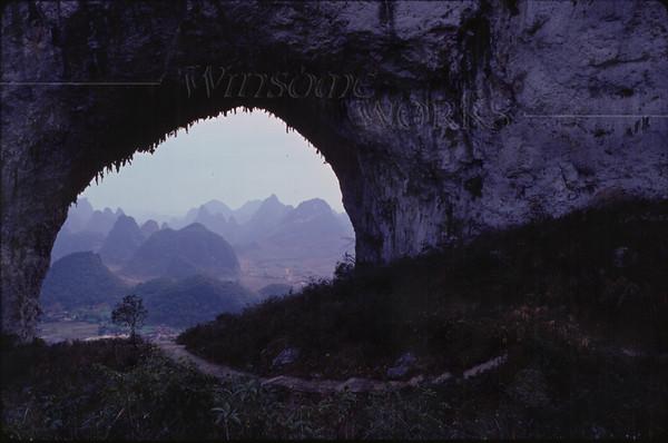 Stone archway in a karst near Yangshuo