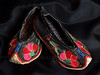 Chinese Baby Shoes with Floral Embroidery (made by Sani people of the Yi Tribe, near Kunming in Yunnan province, China)