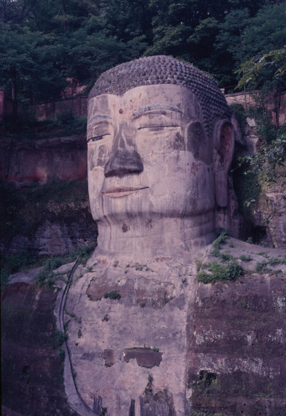 Head of the largest stone-carved Buddha in the world. A likeness of Maitreya, it was built in 90 yrs. from 713 to 803 A.D. and sits near where 3 rivers meet.