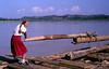 Anna Lisa on a log raft, Jialing River, Nanchong