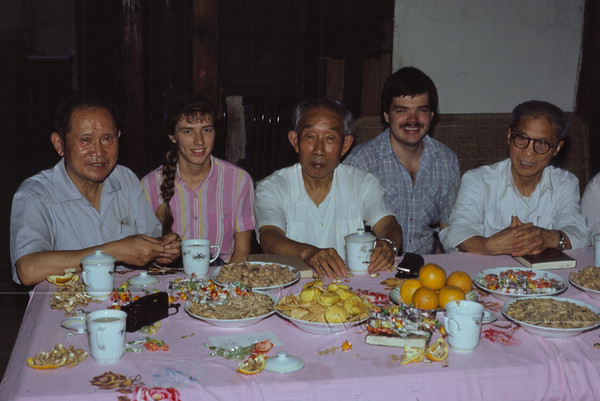 (photo by a friend) Rob and me with the men of the Nanchong Christian Church. The pastor is on the right, and the deacon in the middle. This was our going-away party.