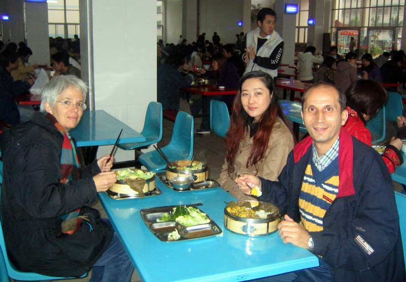 Dinner with colleagues, Navid and Eileen, at the BIT canteen before the English Speaking Contest.
