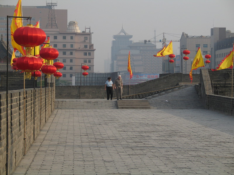 Ken and Mary on the inner wall in Xi'an.