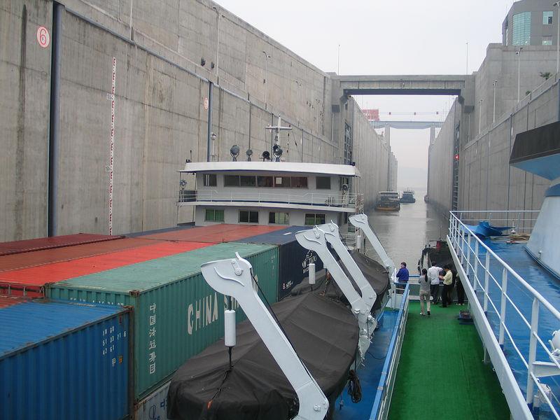 Inside the locks in the dam.