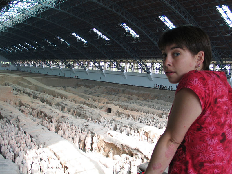 Lisa looks out over over-exposed Terracotta warriors.