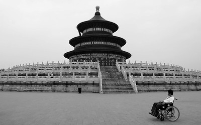 The Temple of Heaven: There was a certain poignancy to this scene. The young man in the chair spent some time wistfully looking at the temple.