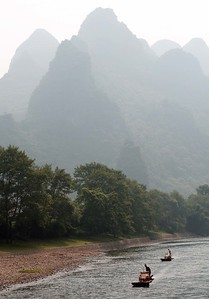 Li River cruise, China: traditional bamboo rafts