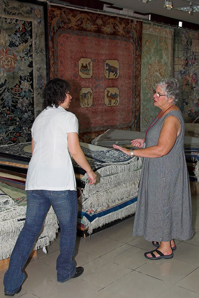 Silk Rug Factory - Beth saying 'no'.