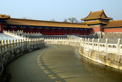 Frozen moat, Forbidden City. All outside water features in Beijing were frozen solid. It was bitterly cold, often in the single digits, and with a frequent breeze, colder than any mountain I have ever climbed.
