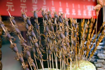 Scorpions. They came 4 to a stick, and some were still squirming! Fortunately they were fried before eating!