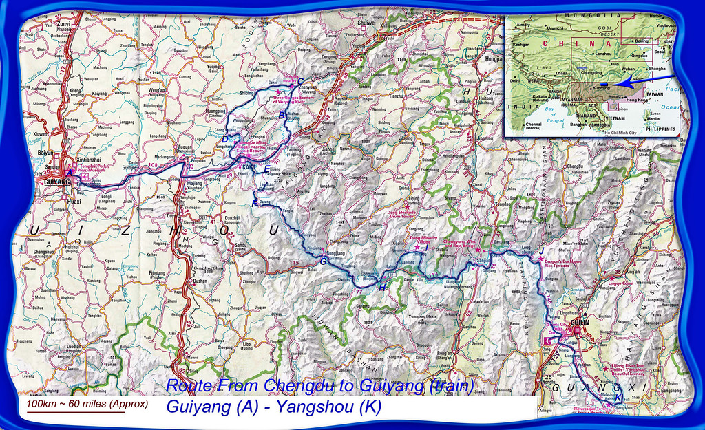 GUIYANG (A) to Yangshou (K) on the map in 14 days.  The 'team' consisted of four keen amateurs (one Englishman, one German and two Australians), our leader,  instructor and raconteur Ewen Bell and (when we reached Guiang) our ever smiling resourceful driver Mr Li. <br /> We all met and began our China journey in Chengdu, so we had time to get lost and find our way again (thanks Jules) in a big Chinese city, visit the panda sanctuary (twice) and then get the overnight sleeper train leaving at 6.30pm and arriving at Guyang at 8am. The train, all 24 carriages of it, was considerably more comfortable than I had expected, we did have a 4 bunk compartment to ourselves (Ewen next door) and it did help that our carriage was next to the restaurant car!