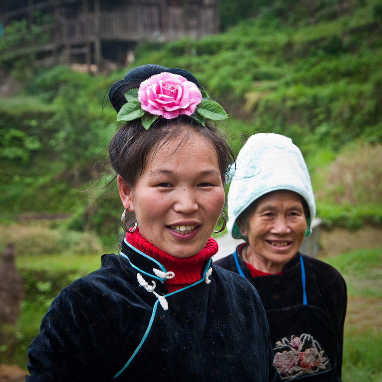 Mother and grandmother......... High in the clouds and hill terraces just north of Rongjiang