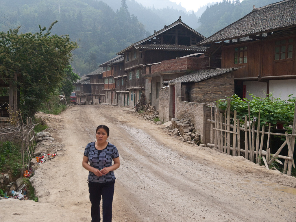 The main drag through a village just south of Chongjiang. This was not the main road but the road surface was only slightly rougher than the road we had been on for the last two days!