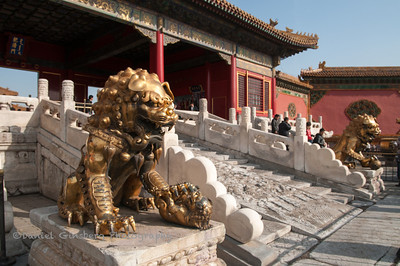 Chinese guardian lions at the Gate to the Inner Court in the Forbidden City.