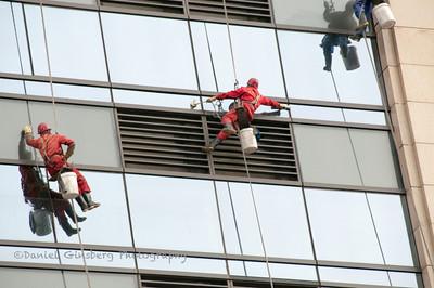Window washers in Beijing.
