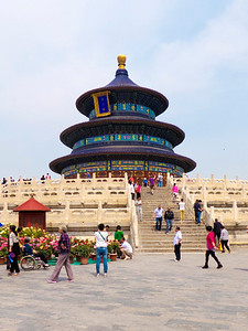 The Temple of Heaven was built in the early fifteenth century. On this site the emperor prayed to Heaven for a good harvest and other blessings.