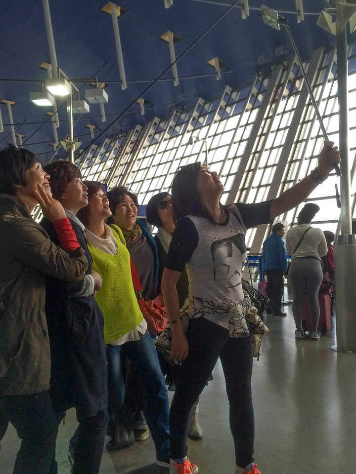 Selfie pose at Beijing Airport.