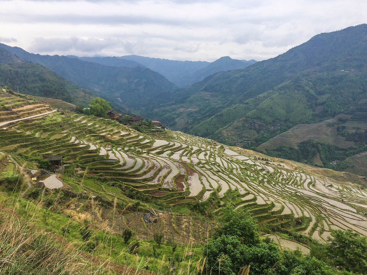 Rice terraces and  a Zhuang village