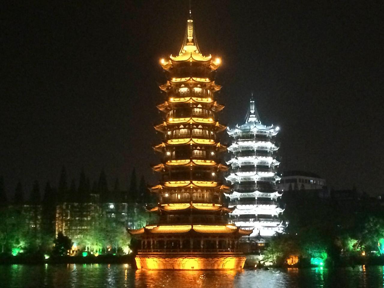 Dual pagodas, nighttime
