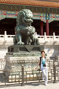 Beijing - Forbidden City - Female Lion Statue (has a cub under it's paw) in the Outer Court.
