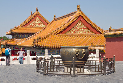 Beijing - Forbidden City - Bronze Caldrons, filled with water in case of fire.