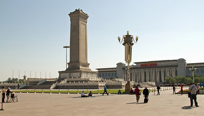 Beijing - Tian'an Men Square - Monument to the People's Heroes and China National Museum.