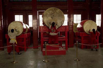 Beijing - Drum Tower - Beating of the drums, used in conjunction with Bell Tower to tell the time.