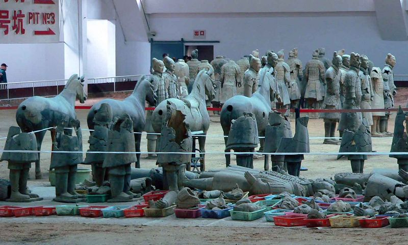 Warriors and horses waiting to be restored