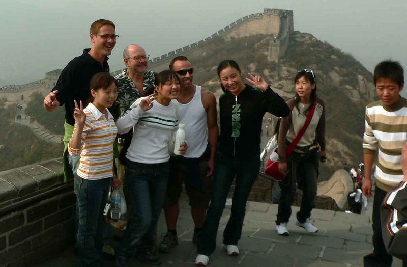The Chinese tourists flocked to have their pictures taken with us. At one point they shoved their grandmother into the picture who looked very confused as to why she was standing with these white men having her picture taken!