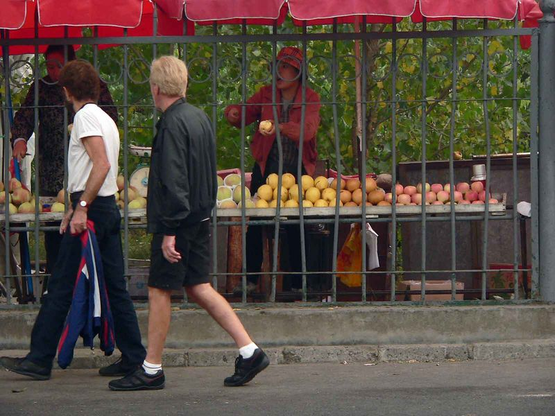Hawking the fruits through the bars!