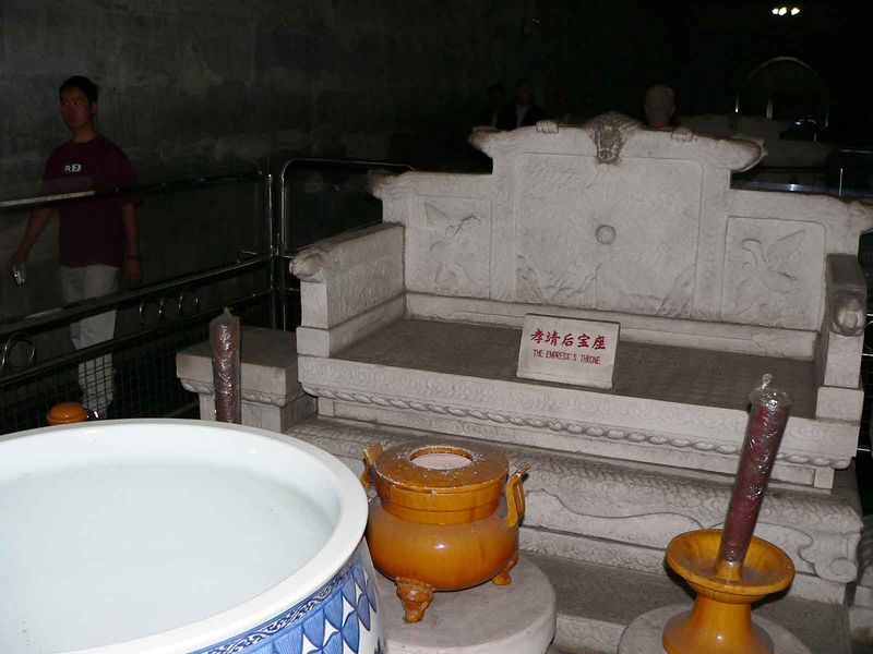 Offering urns and benches in the Ming Tombs